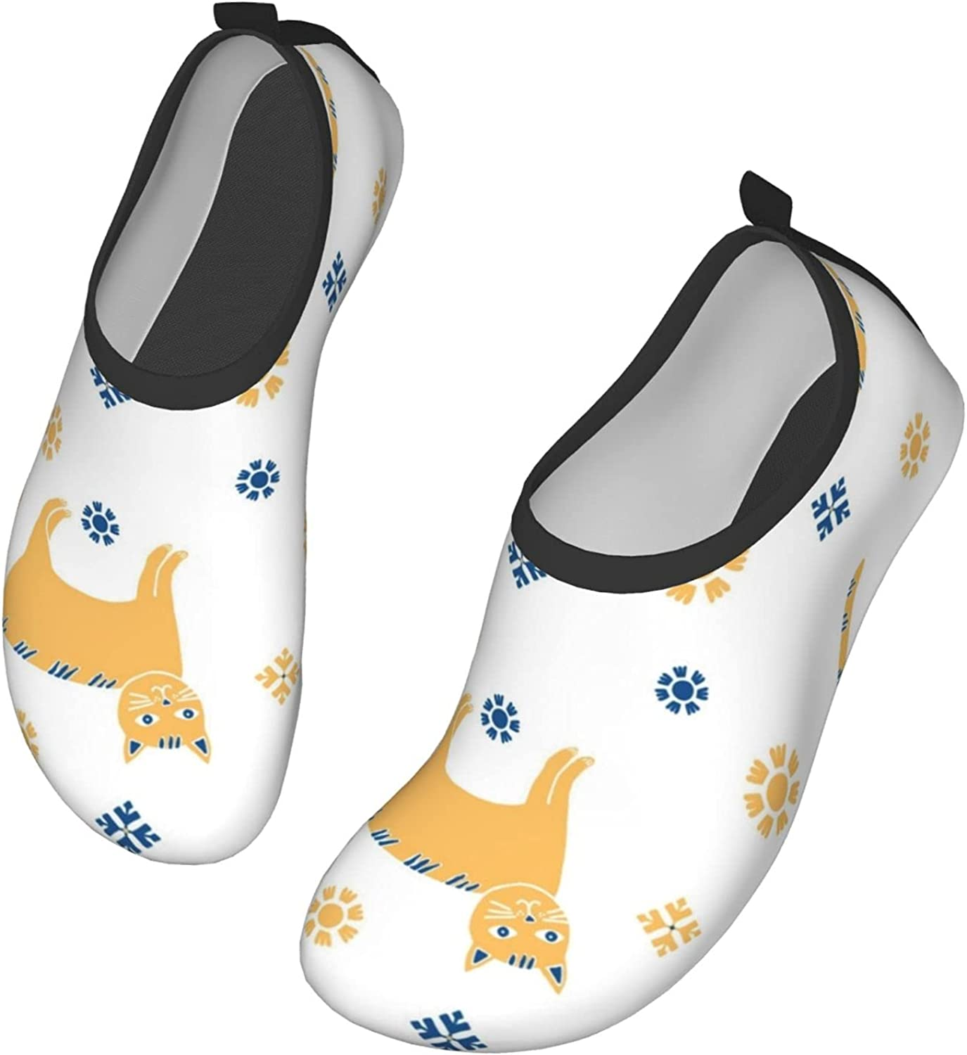 Ethnic Style with Cats and Sun Men's Women's Water Shoes Barefoot Quick Dry Slip-on Aqua Socks for Yoga Beach Sports Swim surf