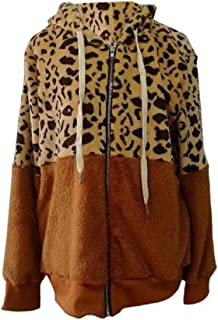 Women Leopard Zipper Fleece Hooded Outwears Mohair Outwear