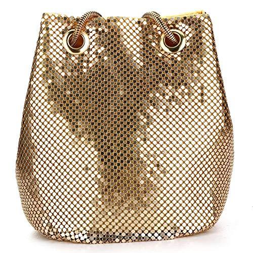 Tragetasche für Damen, glänzende Pailletten, Hobo-Taschen, Zinklegierung, Glitzer Eimer, Schultertasche, Handtasche Gr. One size, gold