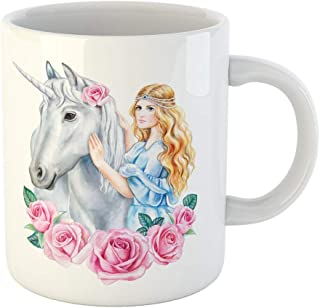 Tarolo 11 Oz Mug Coffee Mug Ceramic Tea Cup Blue Crown Unicorn and Princess Flower in Wreath Girl Golden Hair Horse Cinderella Watercolor Clipart Roses Large C-handle Family and Office Gift
