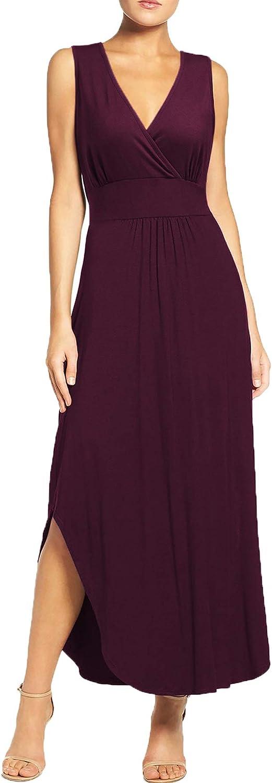 WOOSEA Women Sleeveless Deep V Neck Pocket Loose Long Dress Split Maxi Casual Dresses