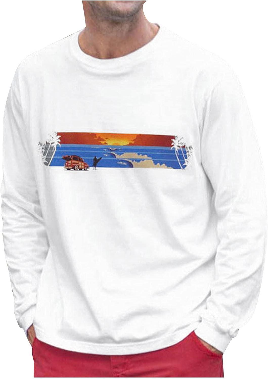 FORUU Men's Fashion Sweatshirts 2021,Fall Cute Graphic Tees Slim Casual Pullover O Neck Printed Long Sleeve Shirts Tops