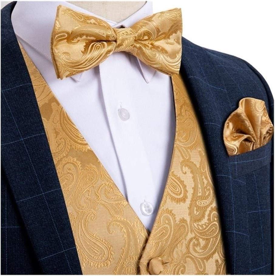 Ranking TOP14 QWERBAM Men's Vest Gold Opening large release sale Solid Wedding Men Silk for Cufflink