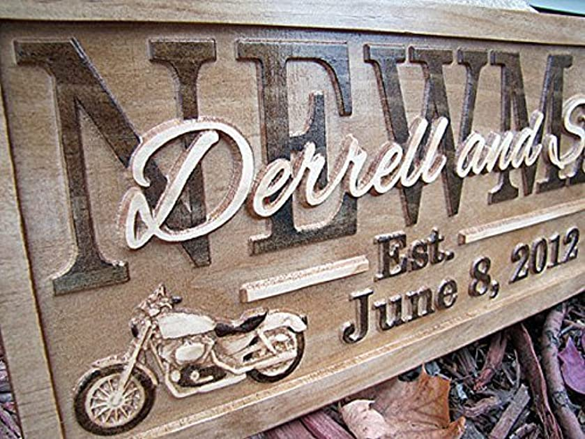 Personalized Family Name Signs HARLEY davidson CARVED Custom Wood Sign Last name Rustic Wedding Gift Established Gift for Couple Boss personalized Motorcycle sign