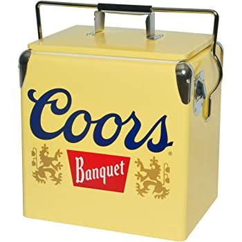 Coors Banquet Portable Ice Chest with 18 Cans Capacity - Ice Cooler with Bottle Opener, Locking Handle for Camping, Home, Work, Beach or Picnic