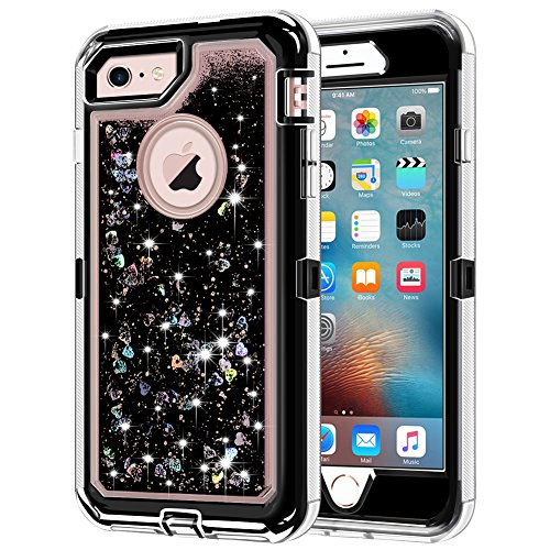 iPhone 6S Case, iPhone 6 Case, Anuck 3 in 1 Hybrid Heavy Duty Defender Case Sparkly Floating Liquid Glitter Protective Hard Shell Shockproof TPU Cover for Apple iPhone 6 /iPhone 6S 4.7' - Black