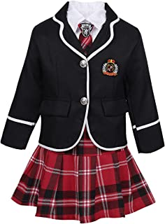 Kids Boys Girls Classic British Japanese Korean School Uniform Outfits Anime Cosplay Dress up Costumes Shirt Suit