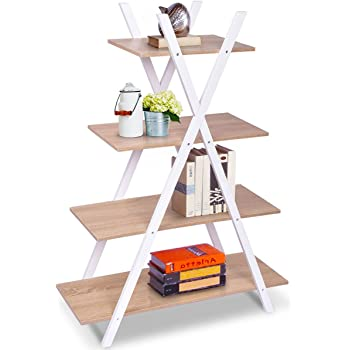 "Giantex 4 Tier Bookshelf Storage Shelves Bookcase Ladder Shelf Home Office X-Shape Potted Plant or Flower Rack Display Shelves Easy Assembly (Natutal and White, 31.5"" LX13.0 WX42.9 H)"