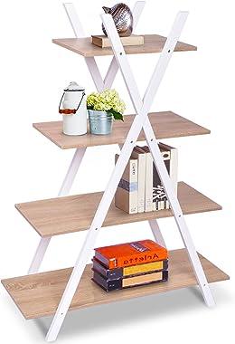 "Giantex 4 Tier Bookshelf Storage Shelves Bookcase Ladder Shelf Home Office X-Shape Potted Plant or Flower Rack Display Shelves Easy Assembly (Natutal and White, 31.5"" LX13.0 WX42.9 H)"