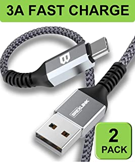 BrexLink USB Certified Type C Cable, USB C to USB A Charger (6.6ft, 2 Pack), Nylon Braided Fast Charging Cord for Samsung Galaxy S10 S8 Note 9, Pixel, Nintendo Switch (Dark Grey)