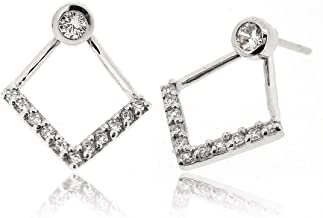 Sovats Two Way V Line Earring For Women Set With White Cubic Zirconia 925 Sterling Silver Rhodium Plated - Simple, Stylish Front And Back Earrings&Trendy Nickel Free Earring