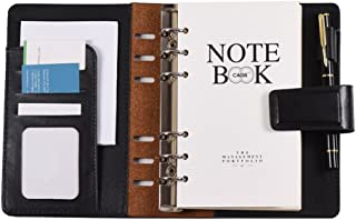 A6 PU Loose-leaf Spiral Notebook Binder Business Planner Dairy Agenda Vintage Office Stationery w/Card Photo Slot Pen Hold...