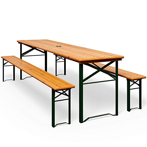DEUBA GmbH & Co. KG. Ensemble table bancs bois pliant meuble de jardin 3 pieces terasse fete pliable
