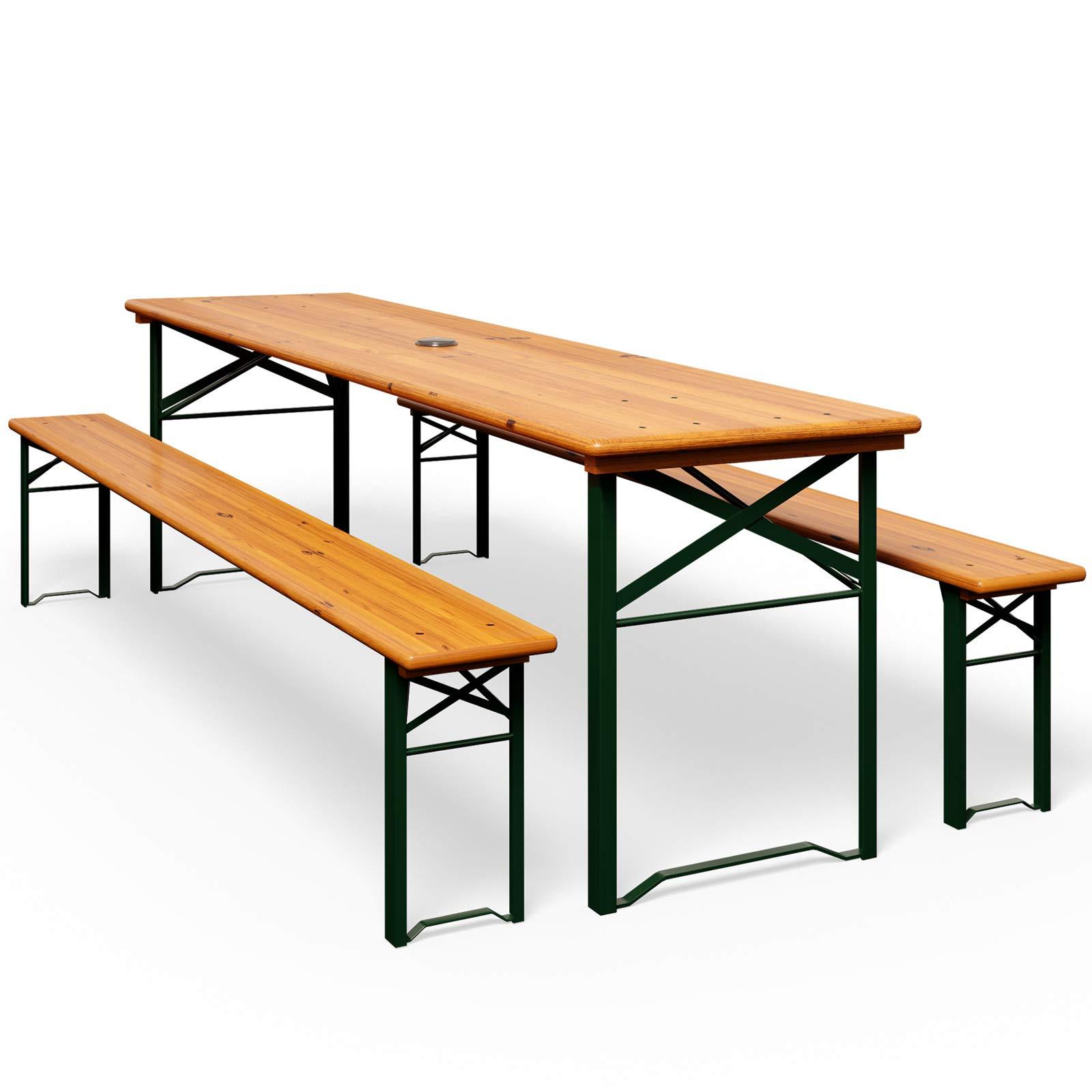 Deuba set de 1 mesa y 2 bancos de madera pino picea plegables mesa cervecera con agujero para sombrilla eventos jardín: Amazon.es: Jardín