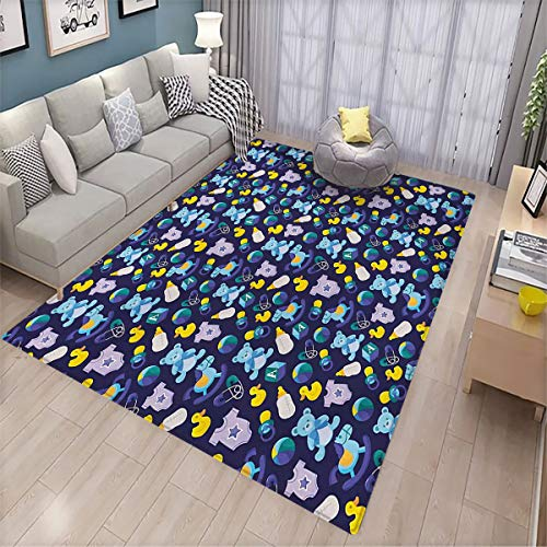 Nursery Carpet mat Children Toys Pattern with Rubber Duck Teddy Bear Beach Ball and Rocking Horse Indoor Absorbent Floor Door mat 6'x8' Multicolor