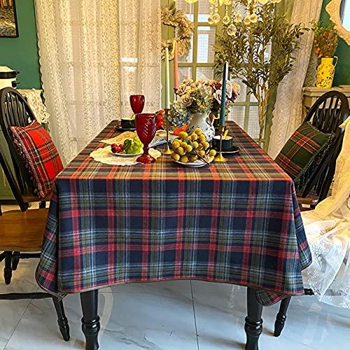 Jacquard Cuadros Manteles,Nórdico Ligero Lujo Mantel De La Tabla Polvo-Tabla De Prueba Cubierta Tela De Mesa De Café Casa Protector De Mesa De Picnic-Cuadrícula Azul 140 * 140cm