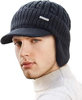 LCZTN Mens Outdoor Winter Visor Beanie Hat with Earflaps Fleece Lined Knit Brimmed Ski Cap