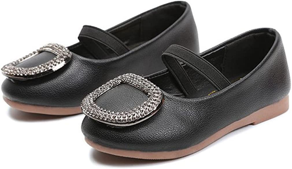 CYBLING Girls Mary Jane Casual Slip On Ballerina Flat with Square Buckle (Toddler/Little Kid)