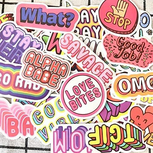 JZLMF 50 grafiti Texto emoticons, carro eléctrico, maletín, maletín de guitarra, ordenador,...