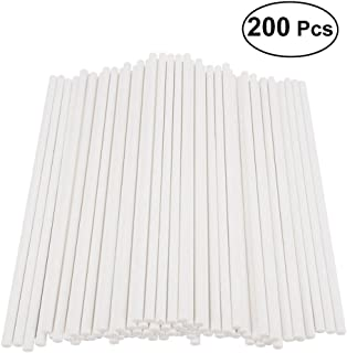 200pcs Paper Lollipop Sticks Cake Pop Sticks for Birthday Party DIY Craft Project - White