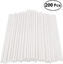 BESTONZON 200pcs Cake Pop Sticks Paper Lollipop Sticks Birthday Party DIY Craft Sticks 15cm - White