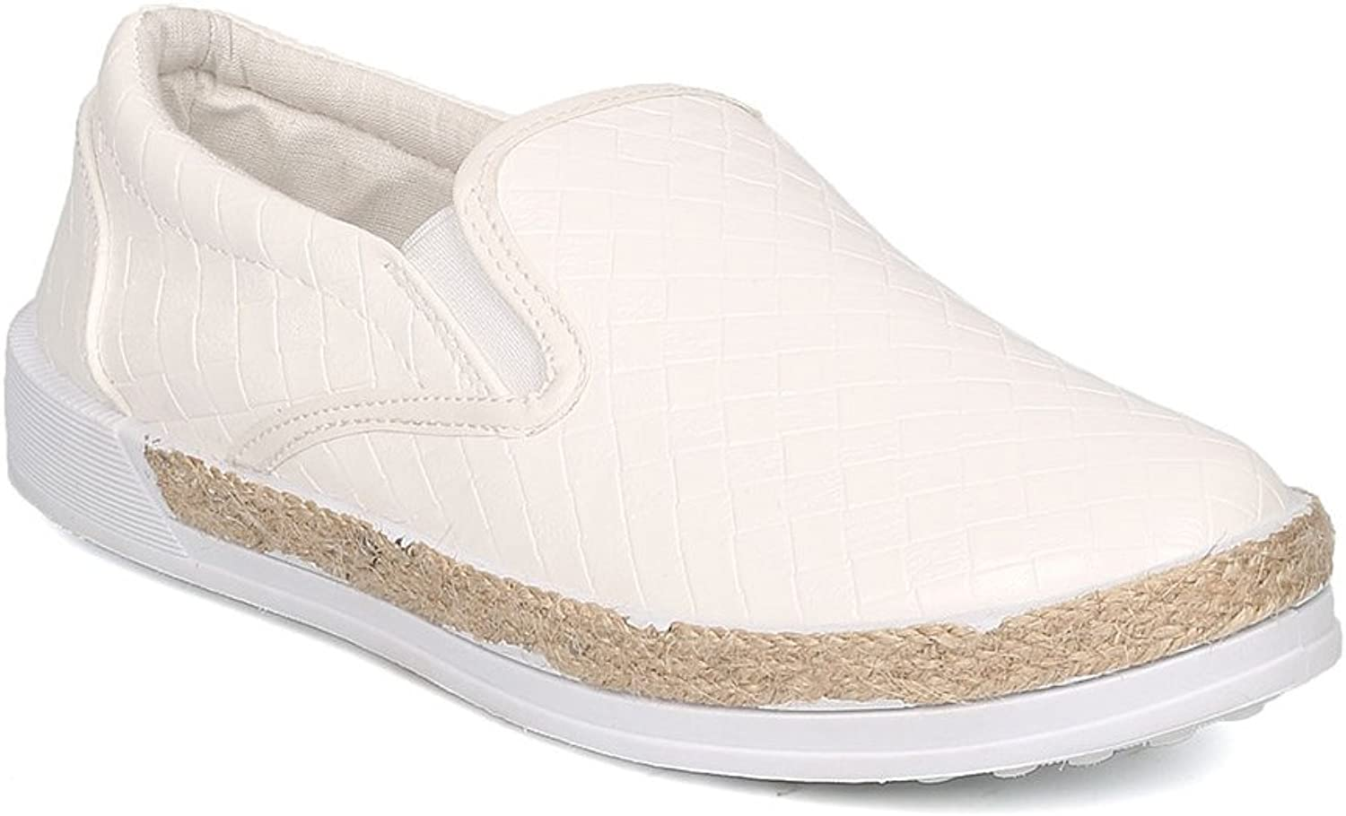 Qupid Women Leatherette Espadrille Slip On Sneaker GF72