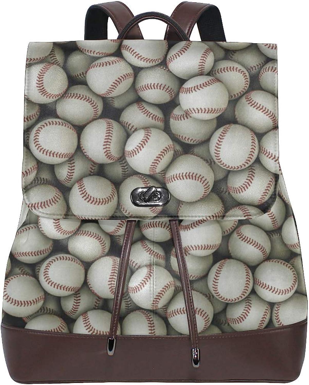 FAJRO Home Run Baseballs Pattern Travel Backpack Leather Handbag School Pack