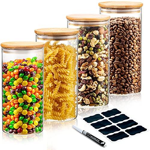 Deco haus Mehrweg - Vorratsgläser mit Bambus Deckel - 4er Set 1400ml - Luftdicht, für Spülmaschine, Mikrowelle - Zur Aufbewahrung, als Keksglas, Dekoration, etc. - 4 x 20 cm Höhe, 10 cm Ø