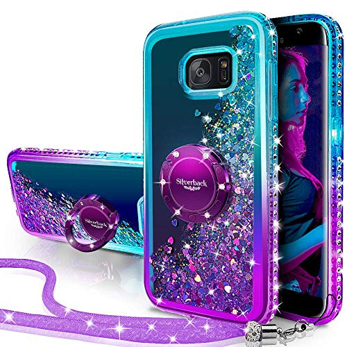 Silverback Galaxy S6 Active Case, Moving Liquid Holographic Glitter Case with Kickstand, Bling Diamond Rhinestone Bumper W/Ring Slim Protective Samsung Galaxy S6 Active Case for Girls Women -Purple