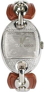 Cucci Wrist Watch for Women Diamond Inlay Leather, Brown