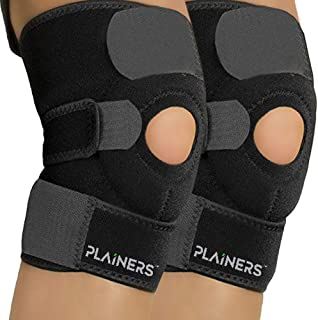 Plainers 2 Pack Knee Brace Support & Patella Stabilizer for Men & Women - Relieves ACL LCL MCL & Arthritis Pain. Perfect for Running Hiking Soccer Basketball Tennis & Squats.