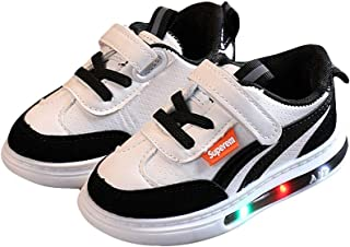 Hopscotch Boys and Girls PU Fixed Lace Led Shoes in Black Color