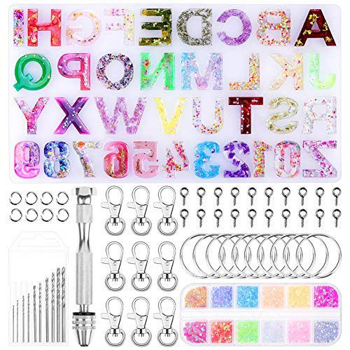 Alphabet Silicone Resin Molds, Paxcoo Backward Letter Number Epoxy Molds Keychain Resin Jewelry Molds with Keychains Resin Drill for Resin Casting Making Keychain