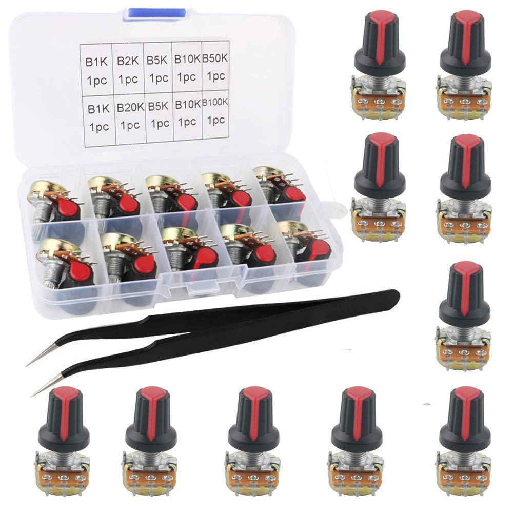 RUNCCI-YUN potenciómetroWH148 20K 2K 50K 100k 1k 10k 5k kit de potenciómetro rotativo de cono cónico, eje WH148 3Pin 15mm con tuerca y anillo de hierro y pinzas antiestáticas