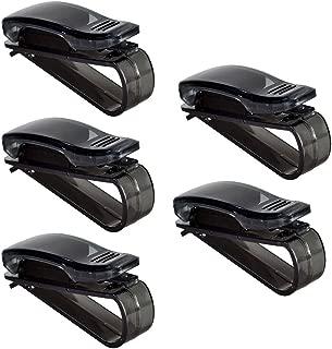 ESUPPORT 5Pcs Sunglass Visor Clip Sunglasses Eyeglass Holder Car Auto Reading Glasses Black