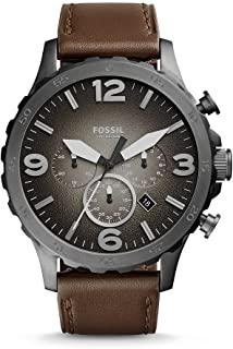 Fossil Men's Grey Dial Leather Band Watch - JR1424