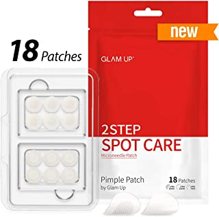 Pimple Patch by Glam Up 2 Step Spot Care, Microneedle Patch - Intensive Trouble Care, Invisible Cover Patch - 18 patches (Microneedle patch 6ea + Hydrocolloid 12ea)