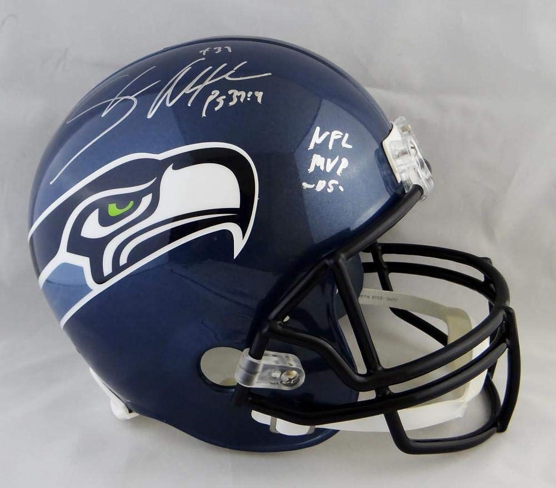 Shaun Alexander Autographed Helmet  F S TB w MVP Beckett Auth S  Beckett Authentication  Autographed NFL Helmets