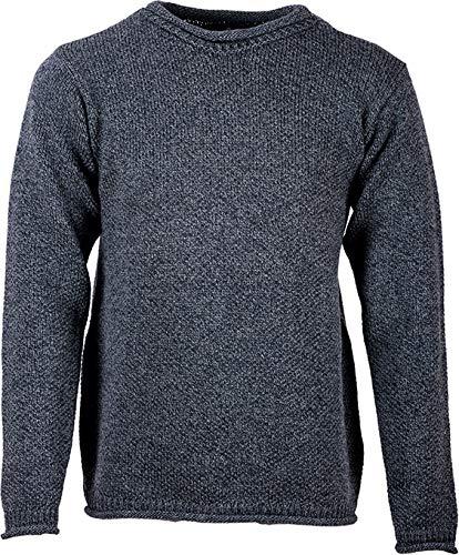 Aran Woollen Mills Mens Roll Neck Merino Wool Sweater (Charcoal, Medium)