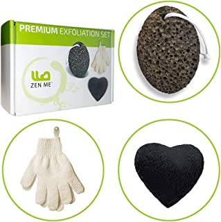 Premium Full Body Exfoliation Set for Smooth Skin from Head to Toe - Pumice Stone for Feet, Exfoliating Gloves, Konjac Sponge for Your Face