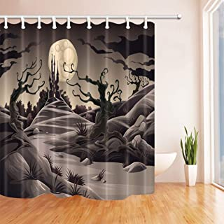 GooEoo ハロウィーンの装飾、月光の寝室のカーテン、織物のポリエステル布の防水シャワーカーテン、71X71インチの森の中のダークキャッスル、シャワーカーテンのフック付き、グレー