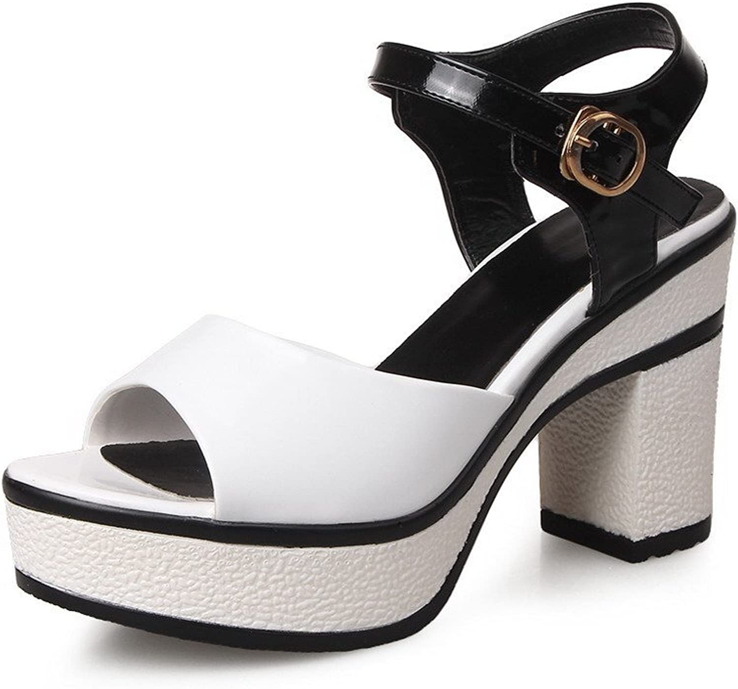 AmoonyFashion Women's Patent Leather Solid Buckle Open Toe High Heels Sandals