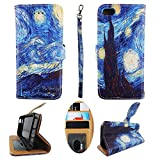 Wallet Case for iPhone 5s 5 Designer Case Wallet Cell Phone Wallet Case Flip Pu Leather Kickstand ID Card Slots Folio Cover Phone Pouch Case Starry Night Art