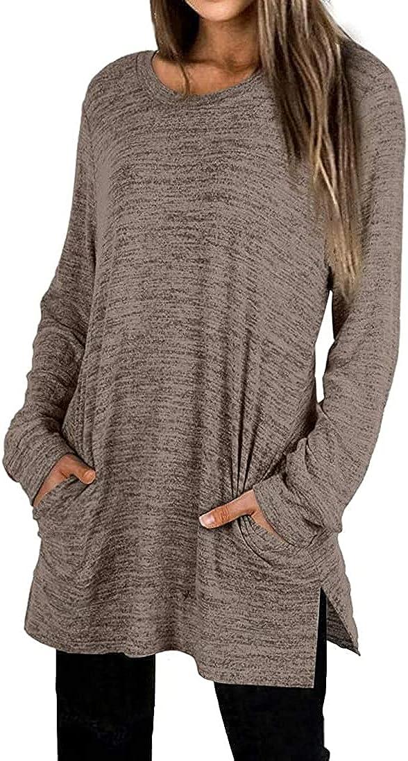 Locryz Womens Casual Sweatshirts Long Sleeve Shirts Oversized Tunic Tops With Pocket