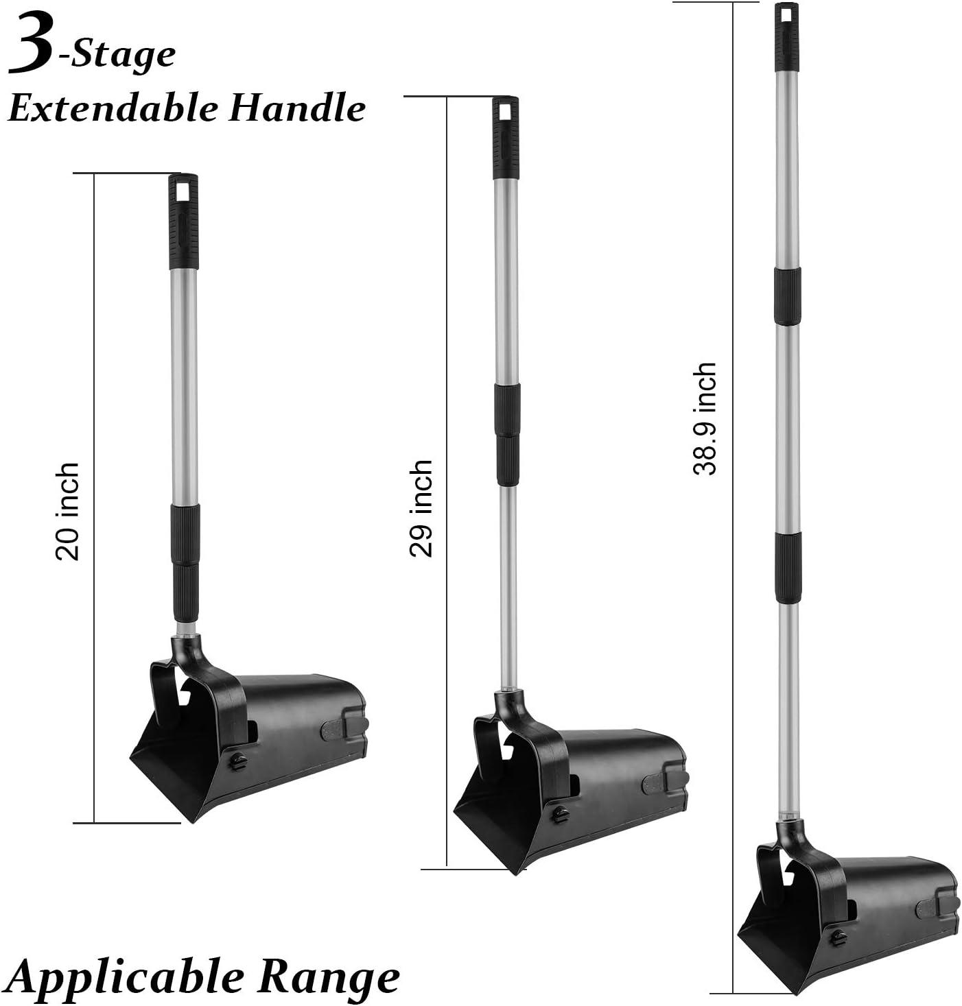 SKYFIELD Swivel Bin /& Rake Pooper Scooper Kit Extendable Aluminum Handle Poop Scooper Rake with Heavy Duty Metal Bin Compact Storage String Pouch Included