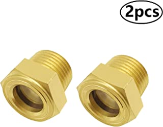 Fanovo 2pcs 1/2'' Male Sight Glass Checks Coolant Level or Air Compressor Heavy Duty Solid Brass Sight Glass Super Transparent Glass Sight Window Glass Oil Sight Gauge Easily Threading(2pcs 1/2 NPT)