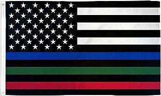 USA Thin Blue Red Green Line Flag 3' x 5' - United States Flags 90 x 150 cm - Banner 3x5 ft - AZ FLAG