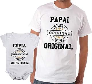 Camiseta adulta papai original e body de bebê cópia autenticada
