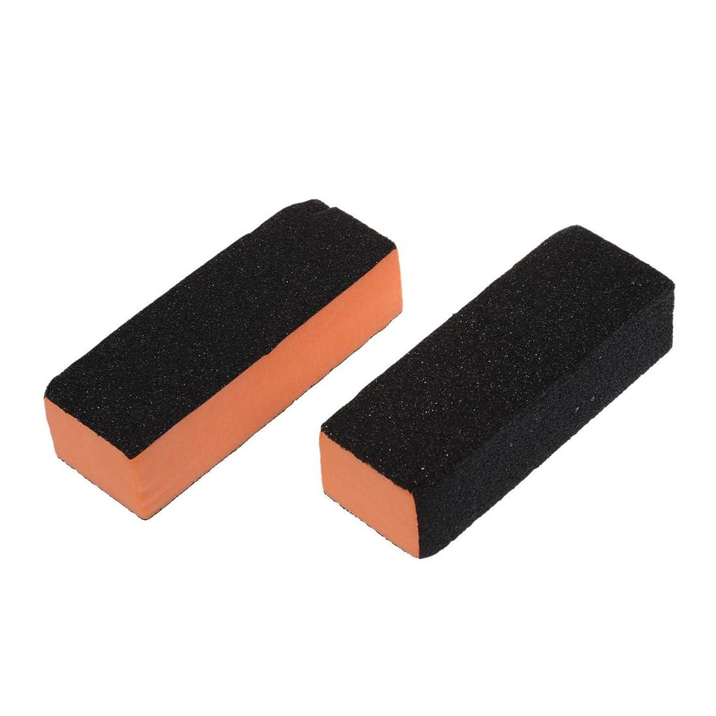 地味なコマースハンディSODIAL(R)2個ブラックオレンジ長方形4ウェイシャイナーバッファサンディングブロックネイルファイル