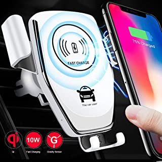 Wireless Car Charger - Easy One Touch Qi fast charge Car Mount Kit Adjustable Gravity Air Vent Phone Holder Compatible for iPhone Samsung Nexus Moto OnePlus HTC Sony Nokia & Android Smartphones(White)